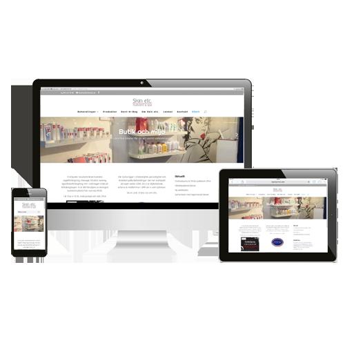 Skin Etc webbplats för kunder i farten